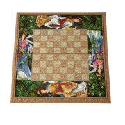 شطرنج و تخته نرد خاتم کاری بانوی پارسی