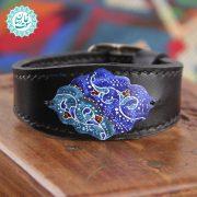دستبند چرم مینا کاری زنبق