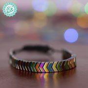 دستبند سنگ حدید پیکانی هفت رنگ